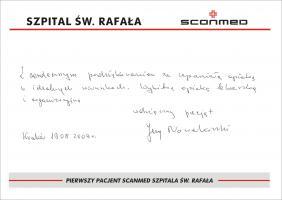 Pierwszy pacjent szpitala Św. Rafała