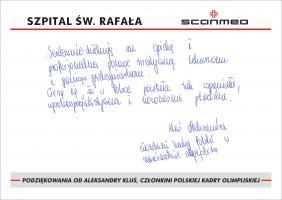 Podziękowania od Aleksandry Kluś, Członkini  Polskiej Kadry Olimpijskiej