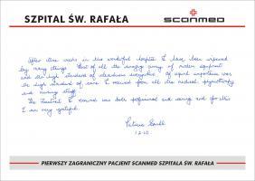 Pierwszy zagraniczny pacjent Scanmed Szpitala  Św.  Rafała